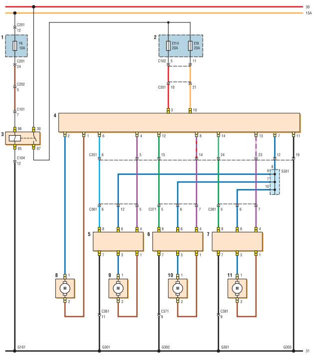 Схема включения электростеклоподъемников передних и задних дверей: 1 - монтажный блок предохранителей в салоне; 2...