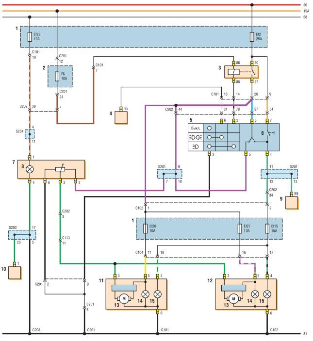 Схема автоматического корректора фар фото 156
